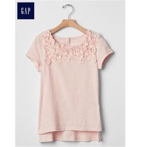 Gap girls soft pink shirt with embroidered flowers